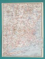 "NEW ENGLAND States Railroads Map - 1909 MAP Baedeker 6 x 8"" (15 x 20 cm)"