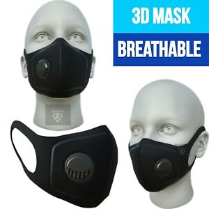 Face Mask Unisex 3D Breathable Air Flow Filter Washable Mouth Protection Sponge