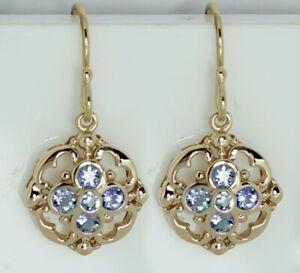 E024- Genuine SOLID 9ct Rose Gold NATURAL Aquamarine Blossom Drop Earrings