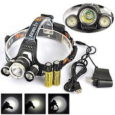 Rechargeable 13000Lm 3×XM-L T6 LED Headlamp USB Headlight+2*18650 White light
