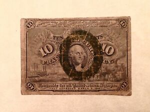 ~ FR. 1245 10 TEN CENTS SECOND ISSUE FRACTIONAL CURRENCY NOTE