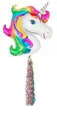 """Giant 33"""" x 29""""  RAINBOW UNICORN Helium Foil BALLOON with MATCHING 34"""" TAIL"""