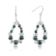 Freshwater Peacock Pearl with Crystal Beads Hoop Earrings