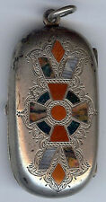ANTIQUE HALLMARKED SCOTTISH AGATE STERLING SILVER BIRMINGHAM COIN HOLDER