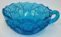Vintage LE Smith Heritage Aqua Blue Glass Handled Bowl Nappy Dish