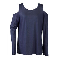 Ivanka Trump Women's Knit Cold Shoulder Long Sleeve Metallic Shirt Blue Size XL