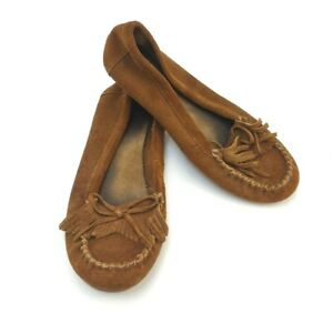 Minnetonka Brown Suede Leather Moccasin Loafer Slippers Women's Size US 7.5 Used