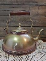 Antique Brass plated copper Wood handle ornate Rustic Farm Kitchen Teapot Kettle