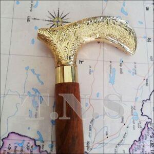 Royal Brass Designer Wooden Walking Stick Vintage Cane Victorian Style Gift Mens