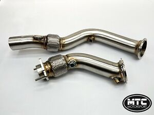 """MTC MOTORSPORT BMW M3 M4 DOWNPIPES EXHAUST DECAT PIPE WITH FLEXI 3"""" F80 F82"""