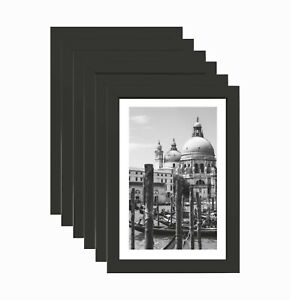 [Set of 6] 4x6 in Nouveau Black Photo Frame Simple Design Styrene Picture