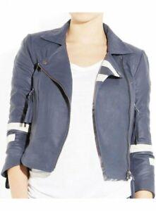 Women's Genuine Lambskin Jacket Leather Zipper Blue Jacket White Stripes