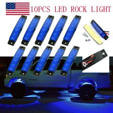 10 Pods Blue Led Rock Lights For Jeep Offroad Truck Utv Atv Boat Underbody Light