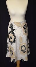Ladies H&M Size 12 Mid Length White Linen Skirt With Black/Beige Floral Pattern