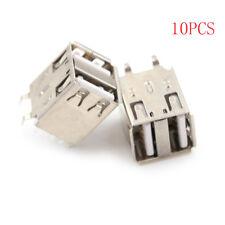 10pcs Double USB Type A Female Solder Jacks Connector 180 Degrees  I