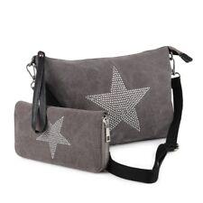 Stern Umhänge Tasche Cross Strass Bag Shopper Clutch Canvas Stoff + Geldbörse