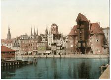 Pologne, Danzig, Partie am Krahntor vintage print photochromie, vintage photoc