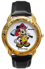 NEW DISNEY MEN'S MICKEY MOUSE FIREMAN FIREFIGHTER LIMITED EDITION GOLD WATCH