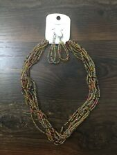 NWT gold MULTI-LAYER BEADED NECKLACE and EARRING set by FASHION JEWELRY