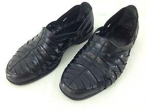 Cole Haan 03022 Mens sz 9 D Black Leather Weave Slip On Huarache Loafer Shoes