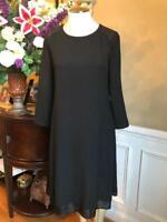 EILEEN FISHER SEQUINS SHOULDER DRESS IN BLACK SIZE XS  (Dr900