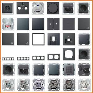 GIRA System 55 E2 Anthrazit USB Steckdose Rahmen Schalter Wippe Einsatz Taster