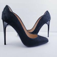 BALLIN Hot Chick Scalloped Pony Fur Black Pumps Classic Shoes 110mm Heels Sz 39