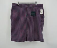 Brooks Brothers Golf Plaid Blue Performance Flat Front Casual Shorts Size 33