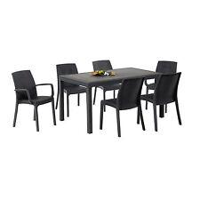 Tavolo da giardino 150x90 cm colore grigio antracite con 4 sedie e 2 poltroncine