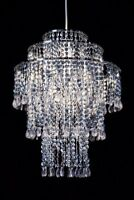 Easy fit silver bead pendant light shade