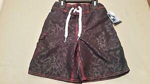 New Joe Boxer Boys Black Print  Red Trim Swim Trunks Swim Suit Bathing Suit