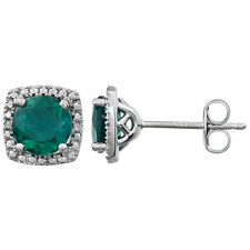 Sterling Silver 6mm Lab Created Emerald & .015 ct tw Diamond Earrings