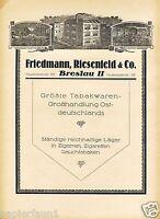 Tabak Friedmann & Riesenfeld XL Reklame 1923 Breslau Zigaretten Zigarren Werbung