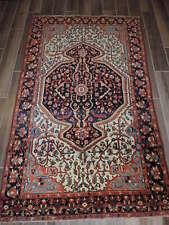 4x7ft. Handmade Vintage Sarouk Mahajan Wool Rug