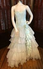 VINTAGE 1980s LIGHT BLUE & WHITE TIERED PROM DRESS GOWN SZ SMALL by NADINE