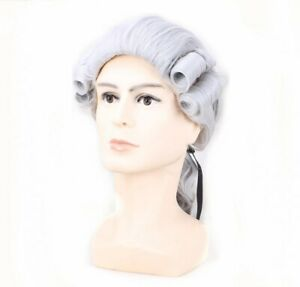 New Long Cosplay George Washington Men Wig Lawyer Colonial Wig Silver Grey