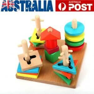 Toddler Kids Baby Montessori Toys Wood Tetris Puzzle Stacking Blocks Wooden Toys