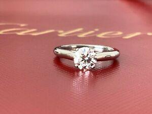 Cartier Platinum Round Diamond Engagement ring .82 CT H VS1 3 EX $11k 2018 Model