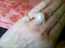 Rare South Sea Huge Round 15 mm Pearl And Baguette Diamond Ring Size O
