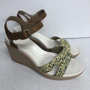 Crocs Dual Comfort Leigh II Wedge Sandals Brown Green White Size 9 Women 202516