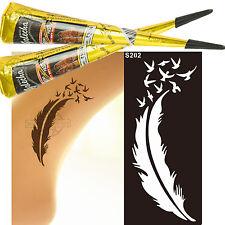3er Set 2 Schwarz Henna Tattoo klinisch getestet 1 Airbrush Henna Schablone s250