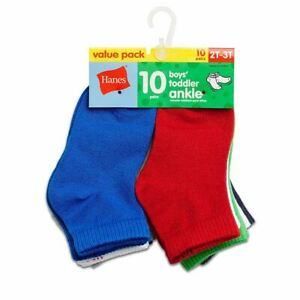 10-Pack Hanes Boys Infant/Toddler Ankle Socks - Assorted - 6 months - 4T