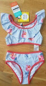 BNWT Joules 4 years girl swimsuit bikini striped floral ruffle new swimming blue