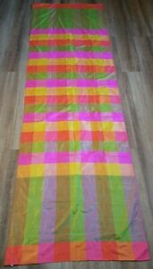 """VTG Silk Plaid Table Runner Table Cover Bright Colors Hand Woven 29.75"""" x 96.25"""""""