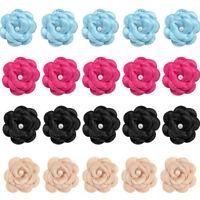 10PCS DIY Satin Ribbon Rose Flower Crystal Bead Wedding Appliques Sewing Decor
