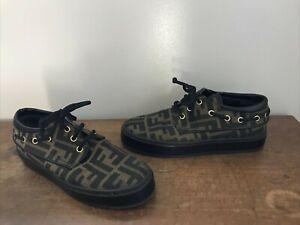 Fendi Classic Monogram Rubber Sole  Women's Tie Sneaker Shoes