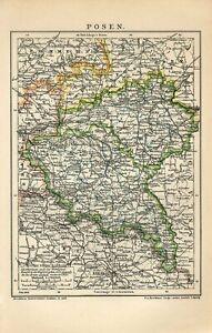 1903 GERMANY POSEN now POLAND POZNAN Prowincja Poznanska Antique Map dated