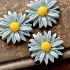 3pcs Resin Flatback Cabochons Cameo Flower 27x27x7mm Light Blue and Yellow OB
