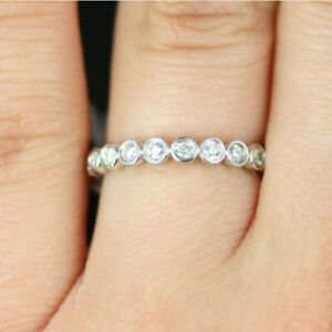 Beautiful 0.50 Ct Natural Diamond Engagement Ring Solid 18K White Gold Size M N