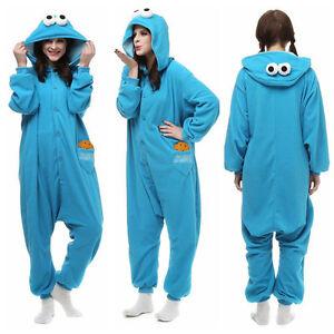 Blue Sesame Street Elmo Cookie Monster Costume Adult Pyjamas Jumpsuit Sleepwear